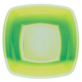 Prato Plastico Fundo Verde Limão Square PP 180mm (25 Uds)
