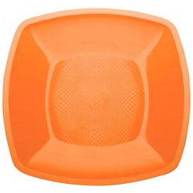 Prato Plastico Raso Laranja Square PP 180mm (300 Uds)