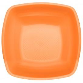 Prato Plastico Fundo Laranja Square PP 180mm (25 Uds)