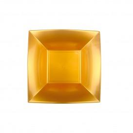 Prato Plastico Fundo Quadrado Ouro 180mm (150 Uds)