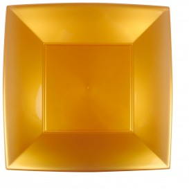 Prato Plastico Raso Quadrado Ouro 290mm (72 Uds)