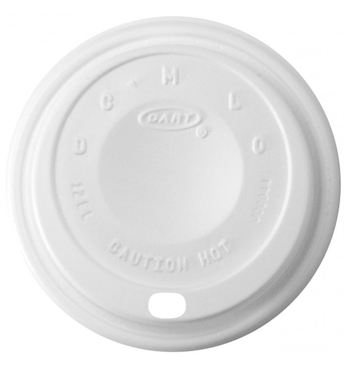 "Tampa de Plastico PS ""Cappuccino"" Branco 14Oz/410 ml Ø8,9cm (1000 Uds)"