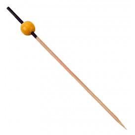 Pick Bambu Decorado Preto e Amarelo 120mm (200 Unidades)