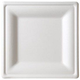 Prato Quadrado Bio cana-de-açúcar Branco 20x20cm (1000 Uds)