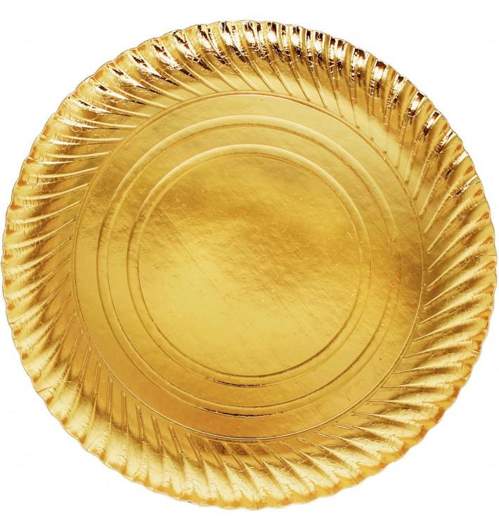 Prato de Cartão Ouro Redondo 300mm (100 Unidades)