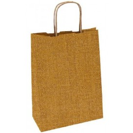 Saco Papel Kraft Natural Asas 80g 26+14x32cm (50 Uds)