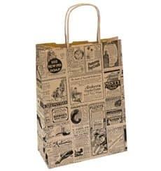 Saco Papel Kraft Jornais Asas 80g 26+14x32cm (50 Uds)