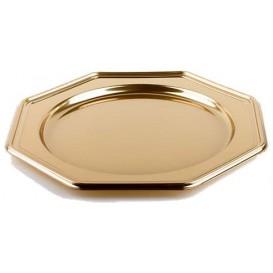 BaixoPrato Plastico Luxo Octog. Ouro 30 cm (5 Uds)