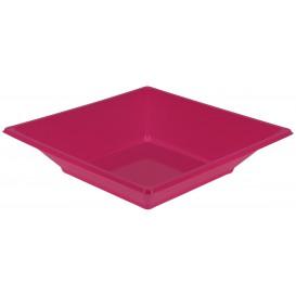 Prato Fundo Quadrado Plástico Fúcsia 170mm (25 Uds)