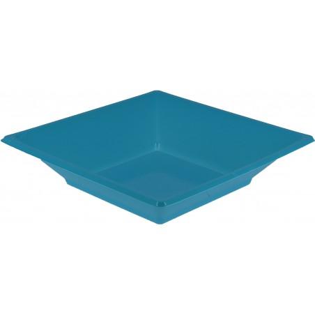 Prato Fundo Quadrado Plástico Turquesa 170mm (25 Uds)