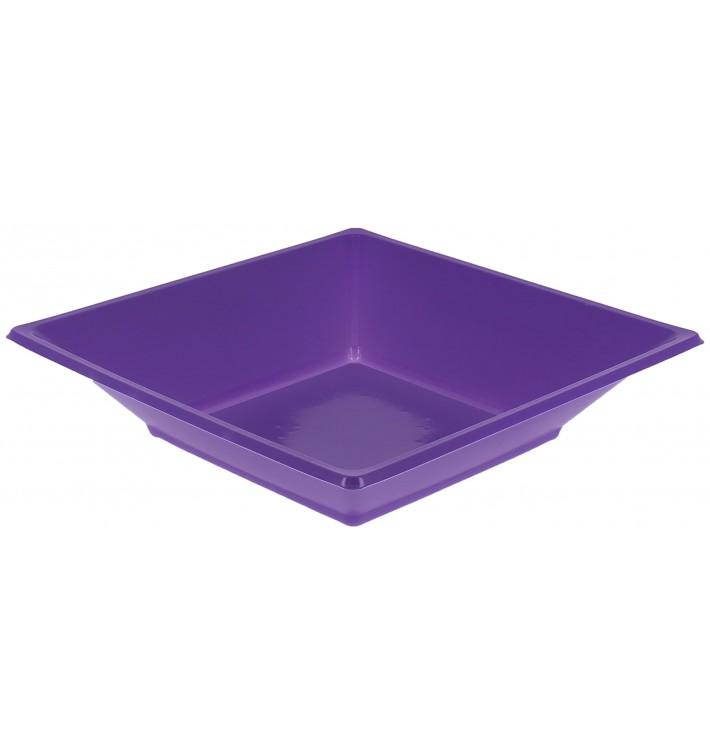 Prato Fundo Quadrado Plástico Lilás 170mm (750 Uds)