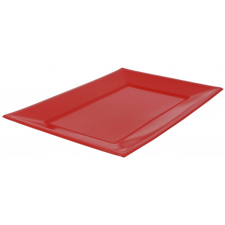 Bandeja Plastico Rectangular Vermelho 330x225mm (25 Uds)