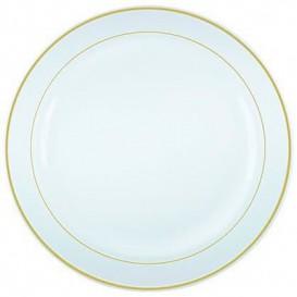Prato Plástico Rigido Bordo Ouro 26cm (6 Uds)