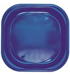 Prato Plastico PS Quadrado Raso Azul Escuro 200x200mm (30 Unidades)