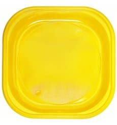 Prato Plastico PS Quadrado Raso Amarelo 200x200mm (720 Unidades)