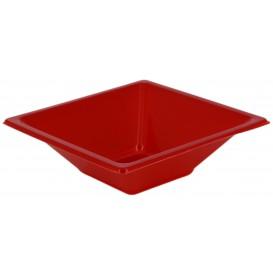 Tigela de Plastico PS Quadrada Vermelho 12x12cm (25 Uds)