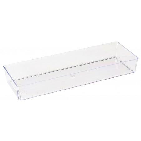 Bandeja de Plastico Retangular Transparente 4,6x13cm (50 Uds)