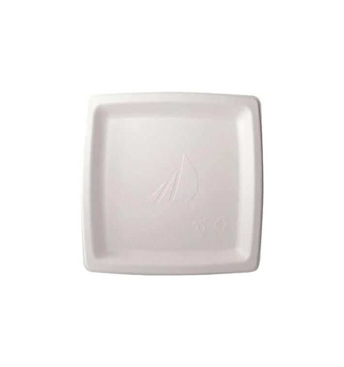 Prato Quadrado Cana-de-açúcar Branco 17cm (1000 Uds)