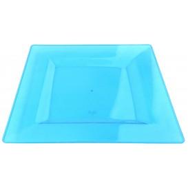 Prato Plastico Rigido Quadrado Turquesa 20x20cm (4 Uds)