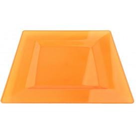 Prato Plastico Rigido Quadrado Laranja 20x20cm (88 Uds)