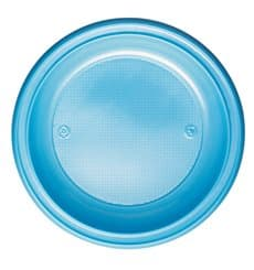 Prato Plastico PS Fundo Azul Claro Ø220mm (600 Unidades)