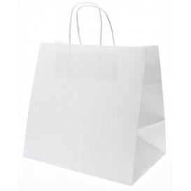 Saco Papel Kraft Branco Asas 80g 26+17x24cm (50 Uds)