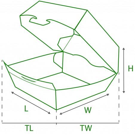Caixa de Cartão Hamburguer 12x12x7 cm (25 Uds)