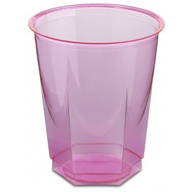 Copo Plastico Hexagonal PS Cristal Fucsia 250ml (10 Uds)
