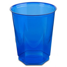 Copo Plastico Hexagonal PS Cristal Azul 250ml (10 Uds)