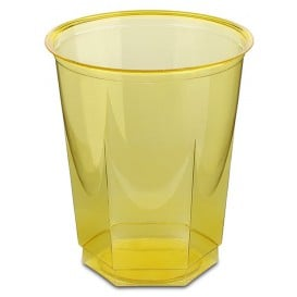 Copo Plastico Hexagonal PS Cristal Amarelo 250ml (10 Uds)