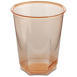 Copo Plastico Hexagonal PS Cristal Laranja 250ml (10 Uds)