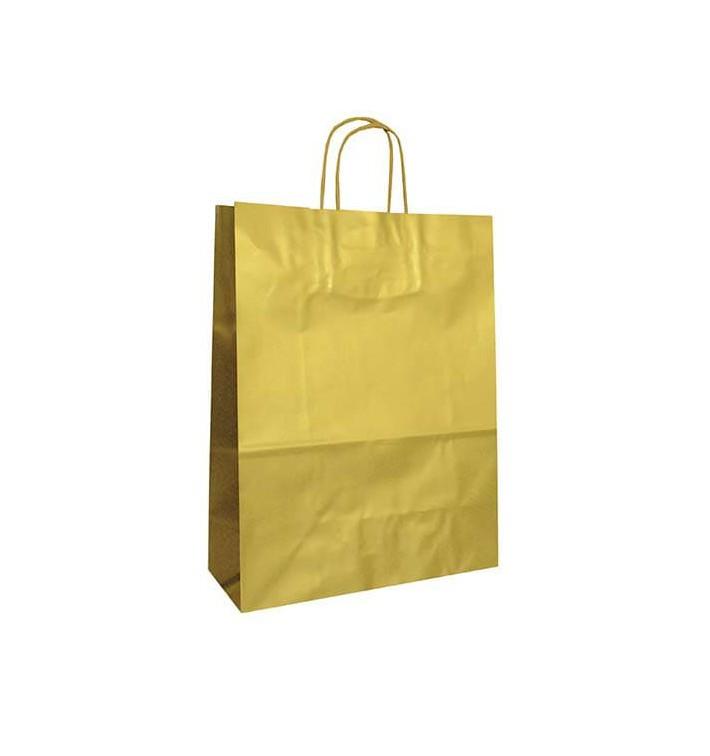 Saco Papel Kraft Ouro Asas 100g 32x12x41cm (50 Uds)