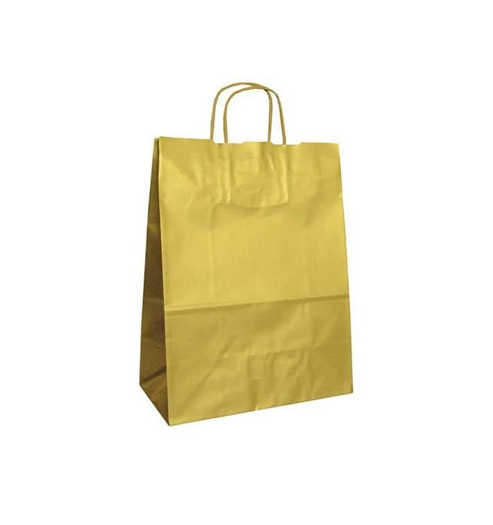 Saco Papel Kraft Ouro Asas 100g 24x12x31cm (250 Uds)