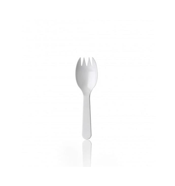 Garfo de Plástico SPORK PS Branco 98mm (100 Uds)