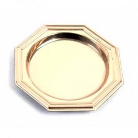 Prato Plastico Octg. Degustação Ouro 8cm (125 Uds)
