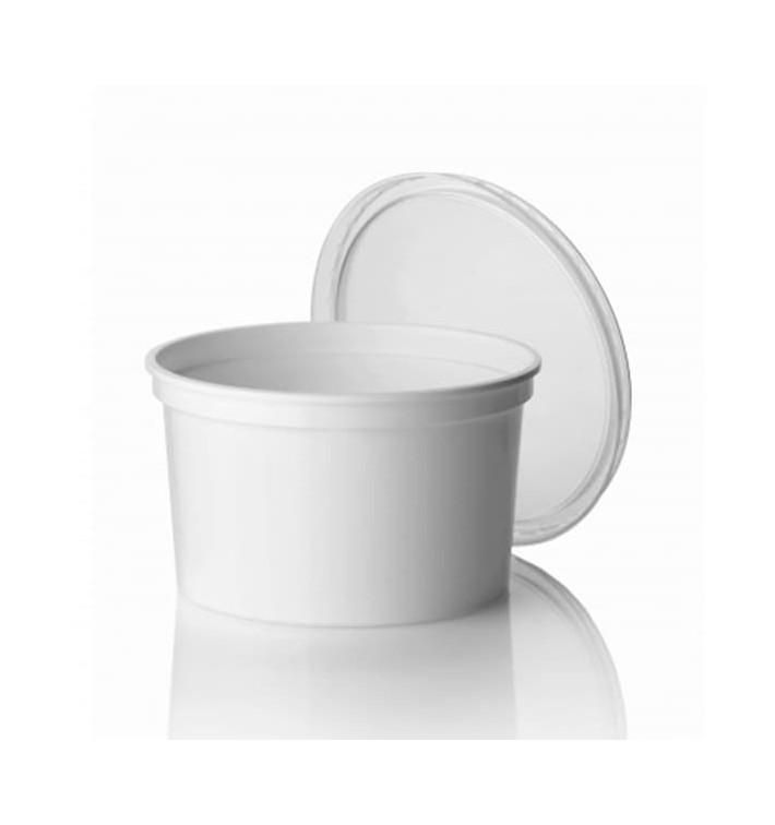 Embalagem Plastico Redondo Branco 500ml  Ø11,5cm (50 Uds)