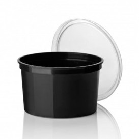 Embalagem Plastico Redondo Preto 500ml (50 Uds)