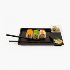 Embalagem Sushi Preto com Pauzinhos 260x160mm (12 Uds)