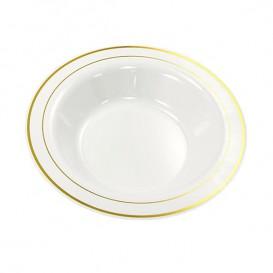 Prato Plástico Fundo Rigido Bordo Ouro 23cm (200 Uds)