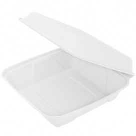 Embalagem Cana-de-açúcar Branco 225x225x75mm (50 Uds)
