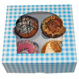 Caixa 4 Cupcakes Azul 17,3x16,5x7,5cm (140 Unidades)