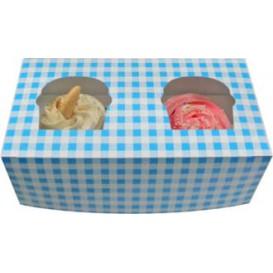 Caixa 2 Cupcakes Azul 19,5x10x7,5cm (160 Unidades)