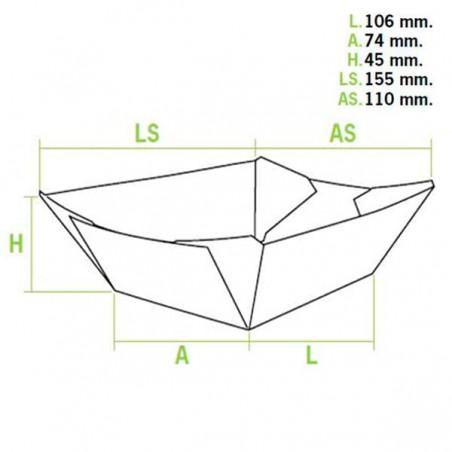 Barqueta Cartolina Kraft 10,6x7,3x4,5cm 350ml (25 Uds)