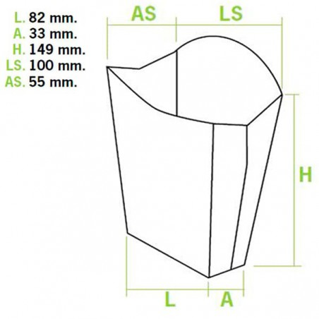 Caixa Batata Frita Grande 8,2x3,3x14,9cm(40 Uds)