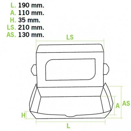 Embalagem Cartolina Janela 21x13x3,5cm 730ml (10 Uds)