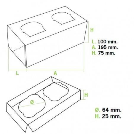 Caixa 2 Cupcakes Rosa 19,5x10x7,5cm (20 Unidades)