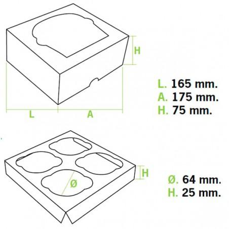 Caixa 4 Cupcakes Azul 17,3x16,5x7,5cm (20 Unidades)
