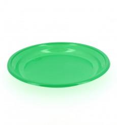 Prato Plastico Raso PS Verde 205 mm (10 Unidades)