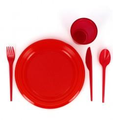 Faca de Plastico Vermelho PS 165 mm (900 Uds)