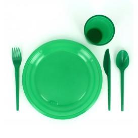 Faca de Plastico Verde PS 165 mm (15 Uds)